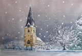 Softly Snowing is an original Watercolour Painting and is also available as a Christmas Card